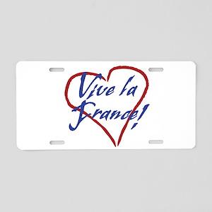 Vive la France! heart art Aluminum License Plate