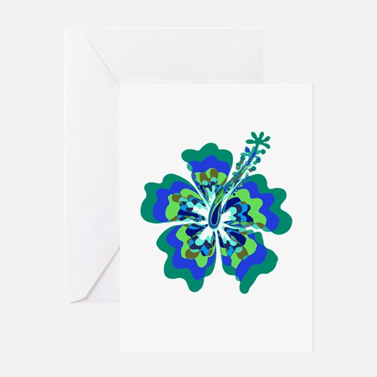 Psychedelic Hibiscus Greeting Card