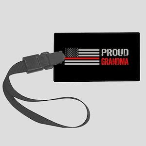 Firefighter: Proud Grandma (Blac Large Luggage Tag
