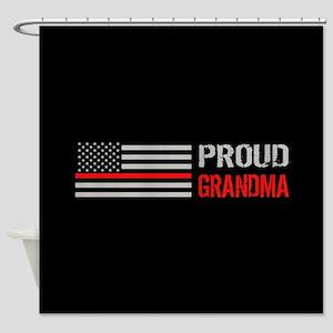 Firefighter: Proud Grandma (Black) Shower Curtain