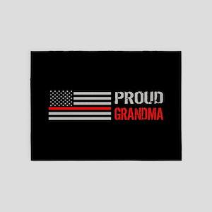Firefighter: Proud Grandma (Black) 5'x7'Area Rug