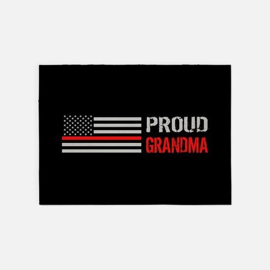Firefighter Proud Grandma Black 5 X7 Area Rug