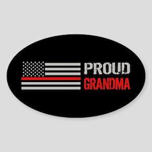 Firefighter: Proud Grandma (Black) Sticker (Oval)