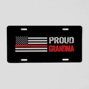 Firefighter: Proud Grandma Aluminum License Plate