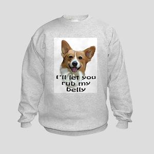 Corgi belly rub Kids Sweatshirt