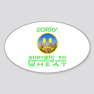 ALLERGIC TO WHEAT Oval Sticker
