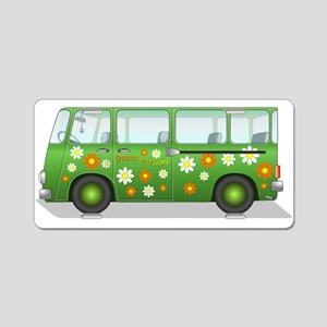 Hippie Van Peace and Love Aluminum License Plate