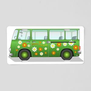 Hippie Van Peace and Love Aluminum License Plate