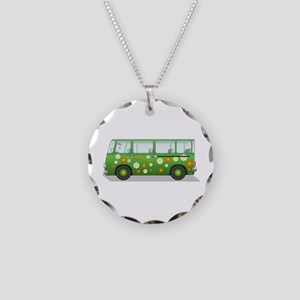 Hippie Van Peace and Love Necklace Circle Charm