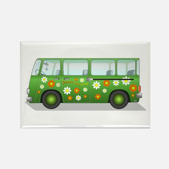 Hippie Van Peace and Love Rectangle Magnet