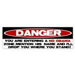 No Obama Zone Bumper Sticker (10 pk)