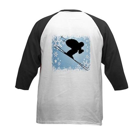 SKI DOWNHILL (BLUE) Kids Baseball Jersey