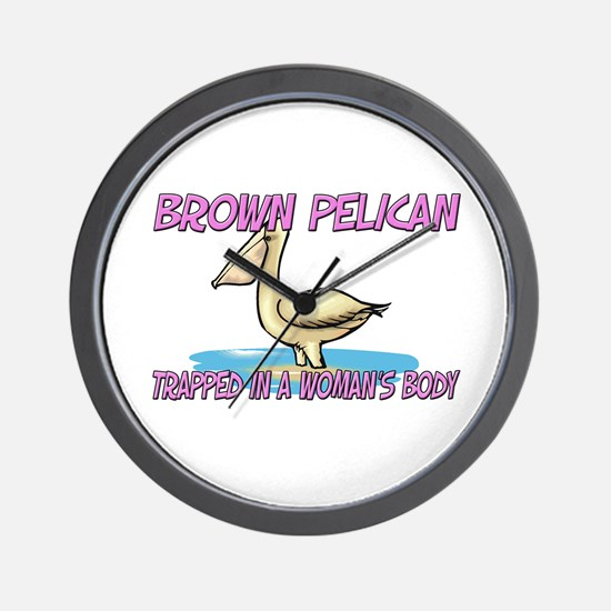 Brown Pelican Trapped In A Woman's Body Wall Clock