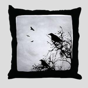 Design 43 crow silhouette Throw Pillow