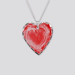 LOVE red and white Necklace Heart Charm