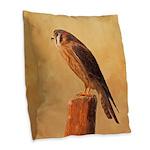 American Kestrel Burlap Throw Pillow
