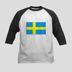 Swedish Flag Kids Baseball Jersey