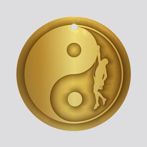 Zen Climber (gold) Round Ornament
