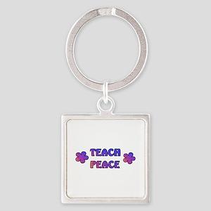 Teach Peace Square Keychain