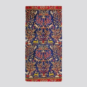 Red Blue Persian Carpet Animals Beach Towel