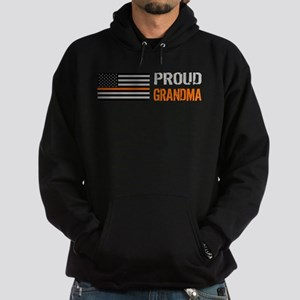 U.S. Flag Orange Line: Proud Grandma Hoodie (dark)