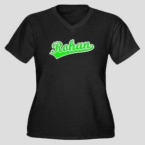 Retro Rohan (Green) Women's Plus Size V-Neck Dark