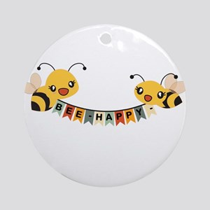 Custom Text Bees Bunting Banner Round Ornament