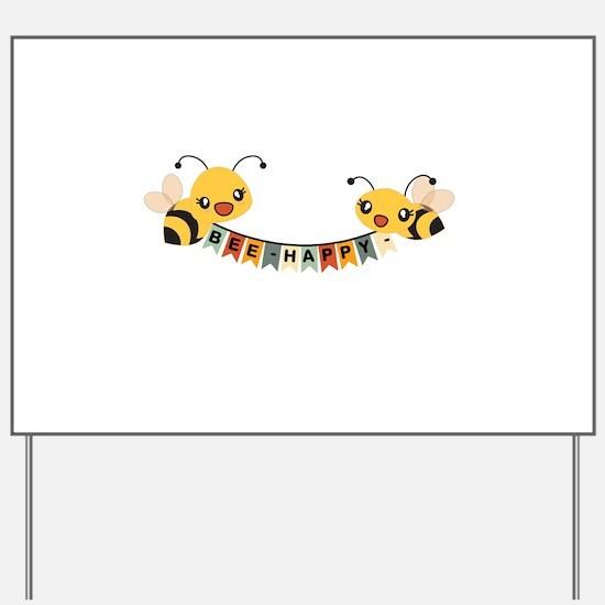 Custom Text Bees Bunting Banner Yard Sign