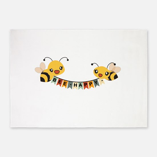 Custom Text Bees Bunting Banner 5'x7'Area Rug
