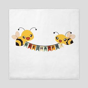 Custom Text Bees Bunting Banner Queen Duvet