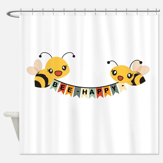 Custom Text Bees Bunting Banner Shower Curtain