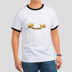 Custom Text Bees Bunting Banner T-Shirt