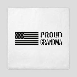 U.S. Flag White Line: Proud Grandma (W Queen Duvet