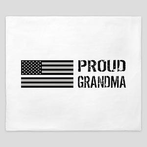 U.S. Flag White Line: Proud Grandma (Wh King Duvet