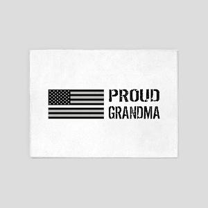 U.S. Flag White Line: Proud Grandma 5'x7'Area Rug