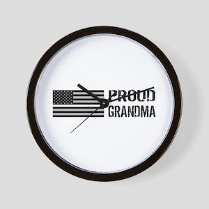 U.S. Flag White Line: Proud Grandma (Wh Wall Clock