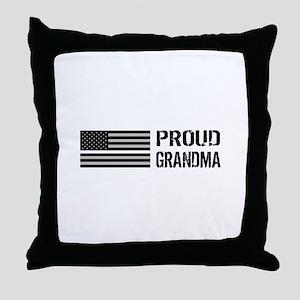 U.S. Flag White Line: Proud Grandma ( Throw Pillow