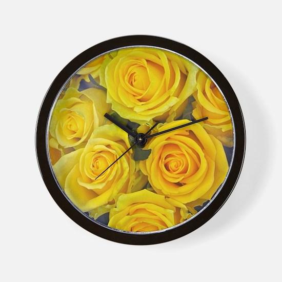 Beautiful yellow roses Wall Clock