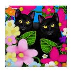 BLACK CATS GARDEN FLOWERS Tile Coaster
