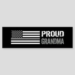 U.S. Flag Grey Line: Proud Grandm Sticker (Bumper)