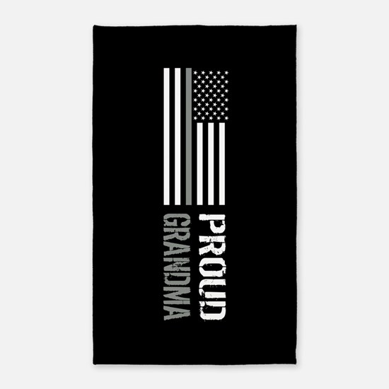 U.S. Flag Grey Line: Proud Grandma (Black Area Rug