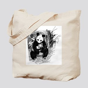 Panda and baby Tote Bag