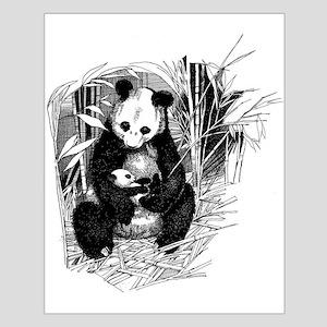 Panda and baby Small Poster