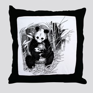 Panda and baby Throw Pillow