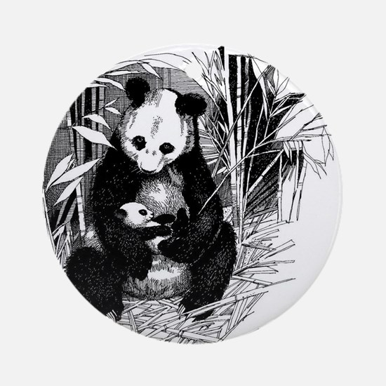 Panda and baby Round Ornament