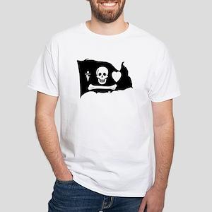 Stede Bonnet Jolly Roger White T-Shirt