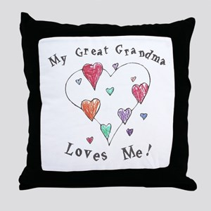 My Great Grandma Loves Me Throw Pillow