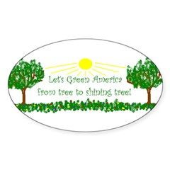 Let's Green America from tree Oval Sticker (50 pk)