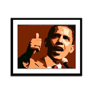 Two Thumbs Up Obama Framed Panel Print
