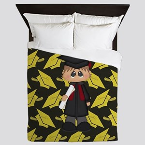 Cute Graduation Boy Queen Duvet